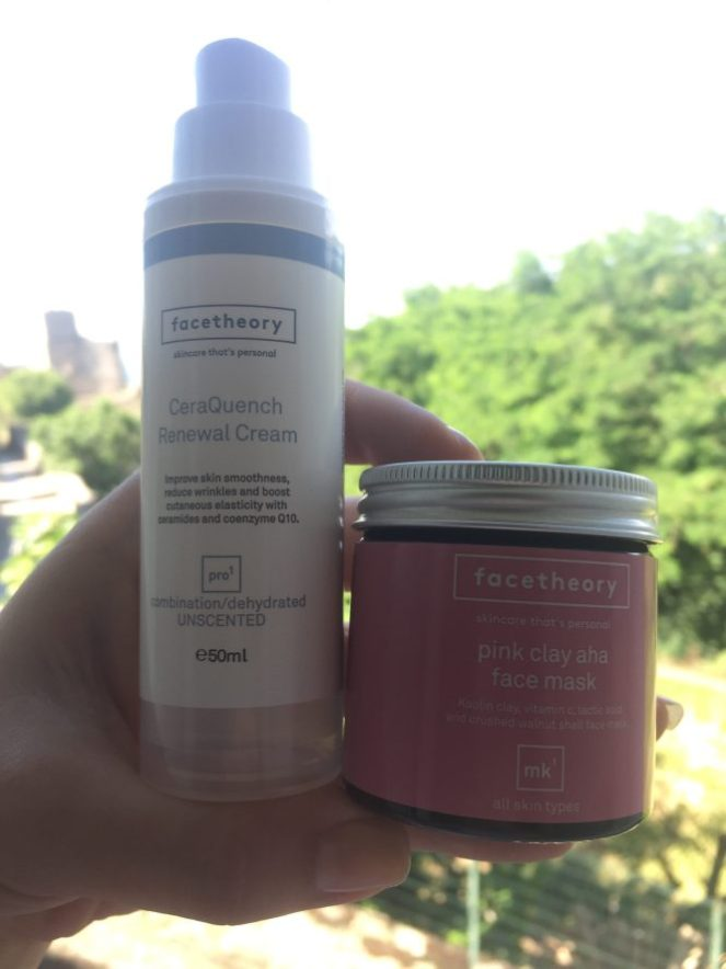 Face theory pink clay mask and CerQuench cream