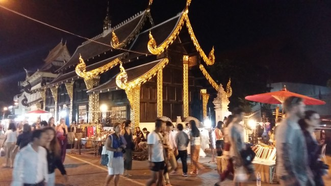 Temple with night market