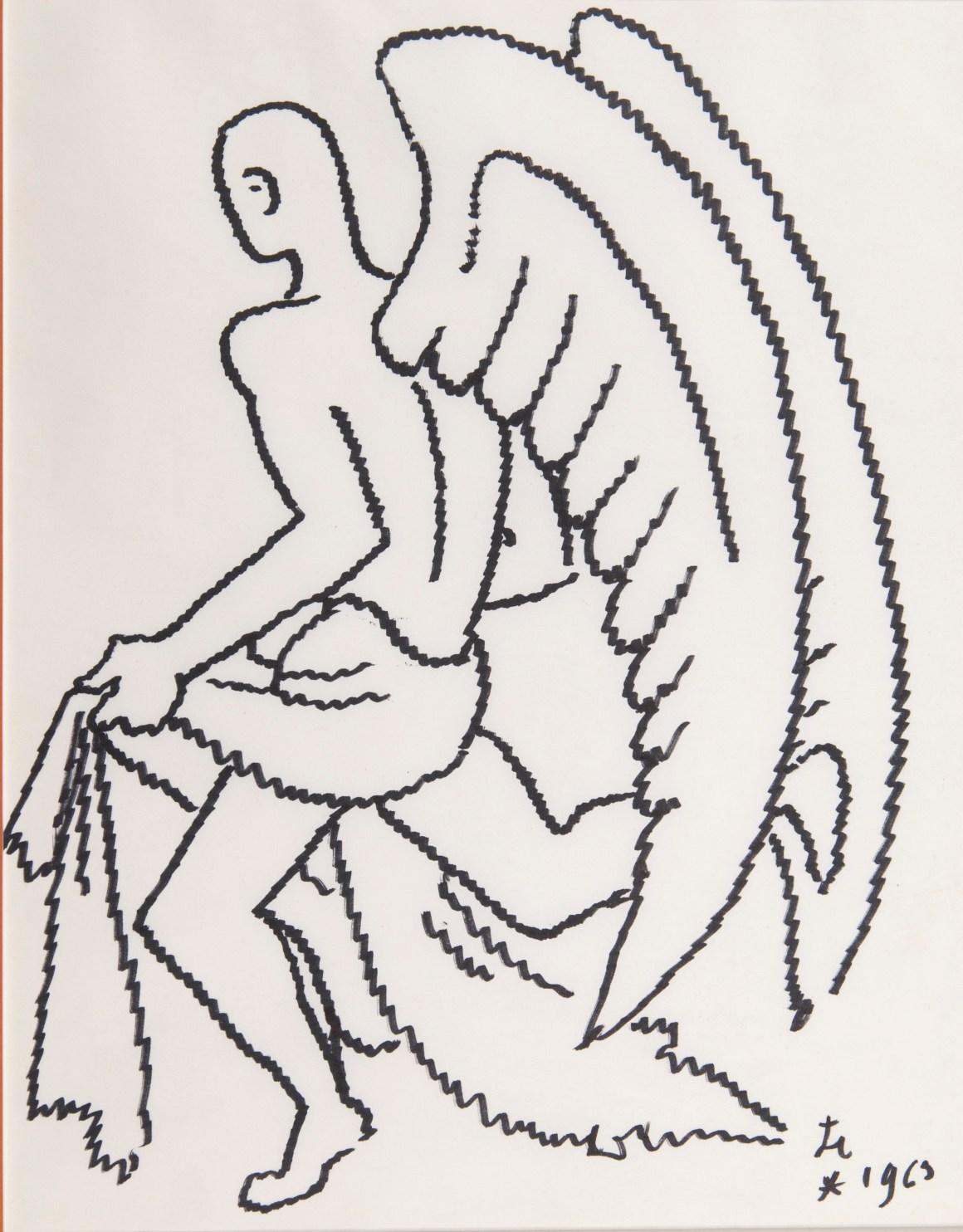 Briest 1673 Jean Cocteau Ange à l'encre noire