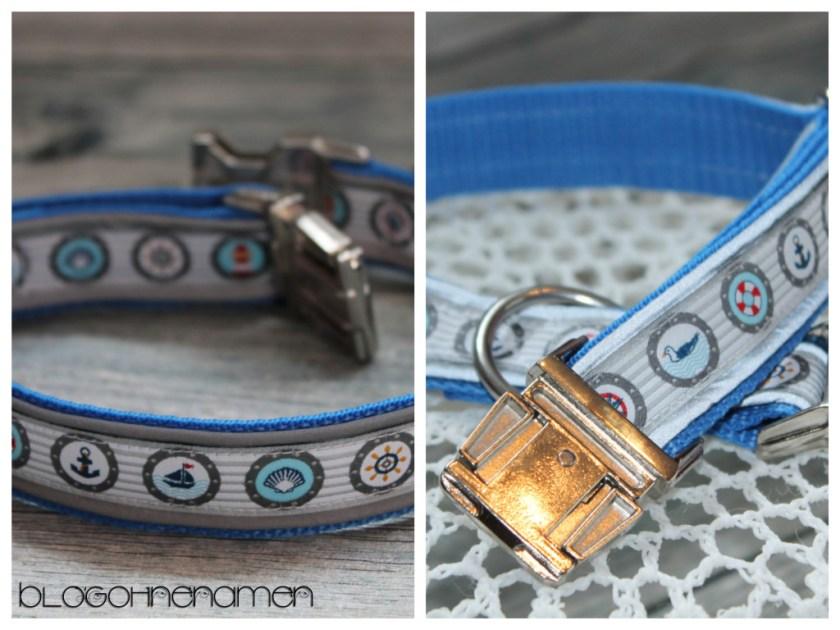 Hundehalsband mit reflektierender Paspel und Webband im maritimen Stil.