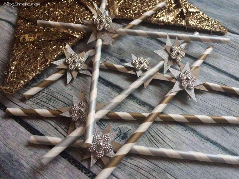 Dekoration, Plotter, Strohhalme, Paper Straws, Sylvester, Weihnachten,einfach,schnell, Silber,Gold,Sterne