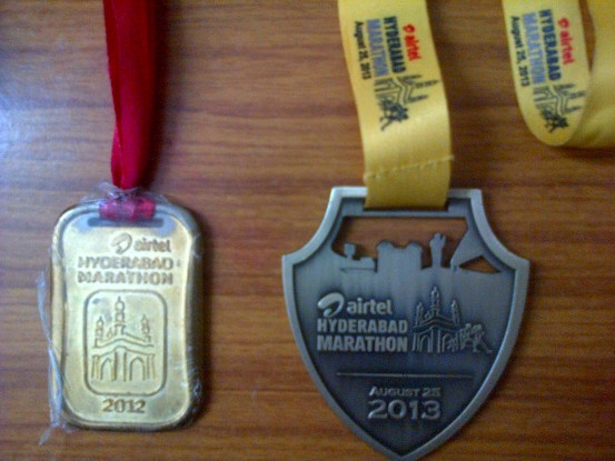 Medals - Race Report - Airtel Hyderabad Marathon 2013