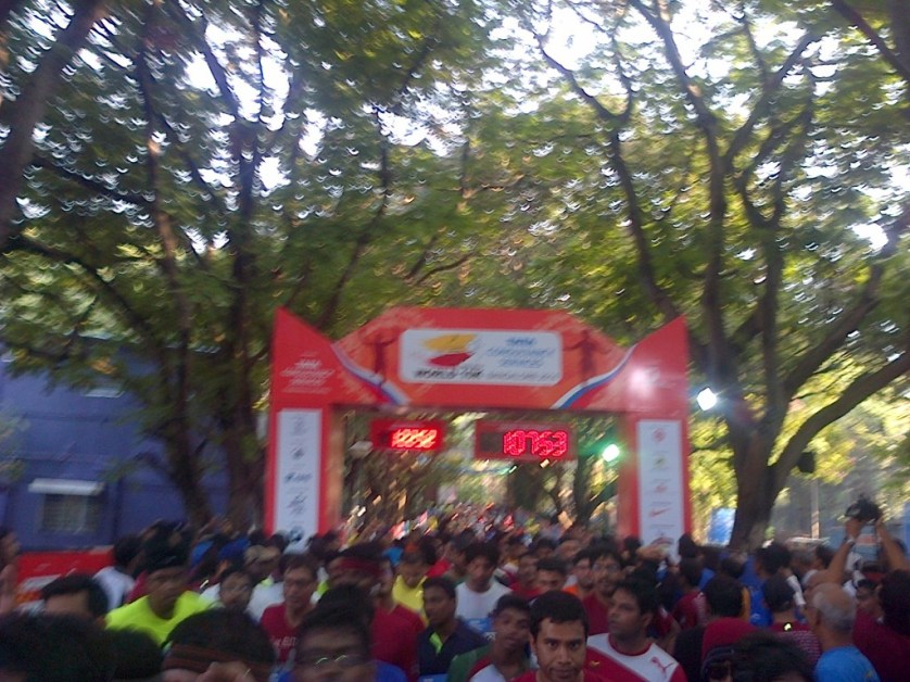 At the finish line.