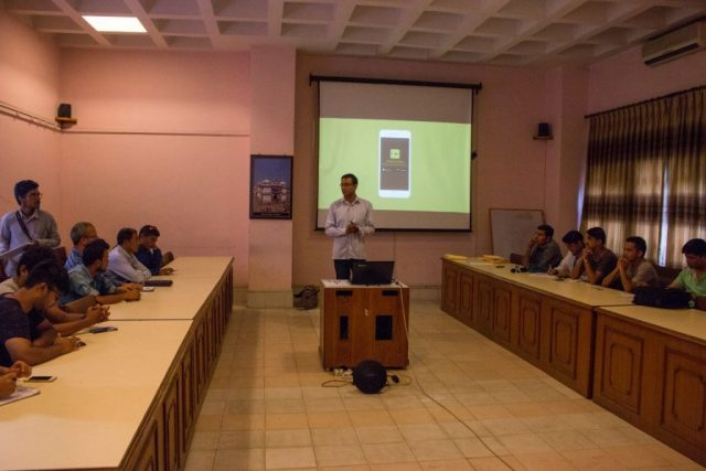 Mr. Abhishek Pande, one of the Co-founder, HoneyGuide Apps, presenting on newly launched app; Trekking in Nepal, in Kathmandu, on Sunday