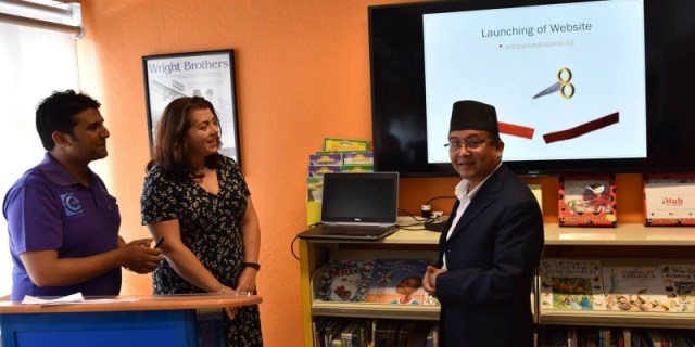 Mr. Dinesh Kumar Thapaliya, Secretary at the Ministry of Information & Communications and spokesperson of US Embassy Nepal jointly launching 'Econstruction app'   Image Source: US Embassy Nepal