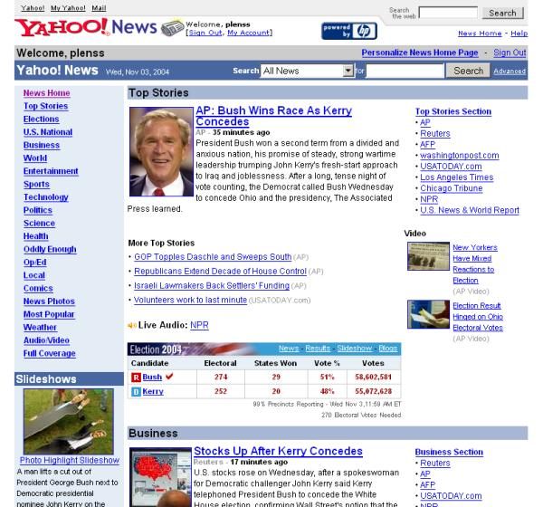 Bush Re Election Frontpages Yahoo Germany Predicts The Future GMailChecker Googlewhack