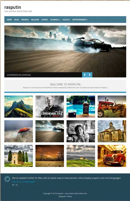 rasputin free wordpress portfolio theme