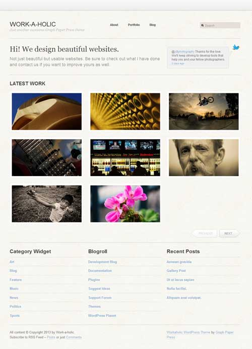 workaholic free wordpress portfolio theme