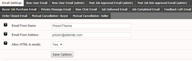 email settings pricerr theme