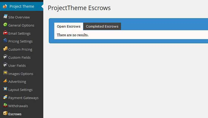 Project theme Escrow feature
