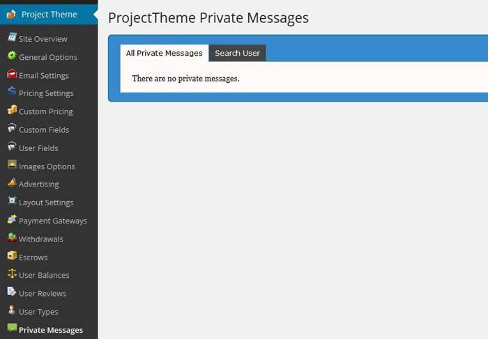 Project theme private messages
