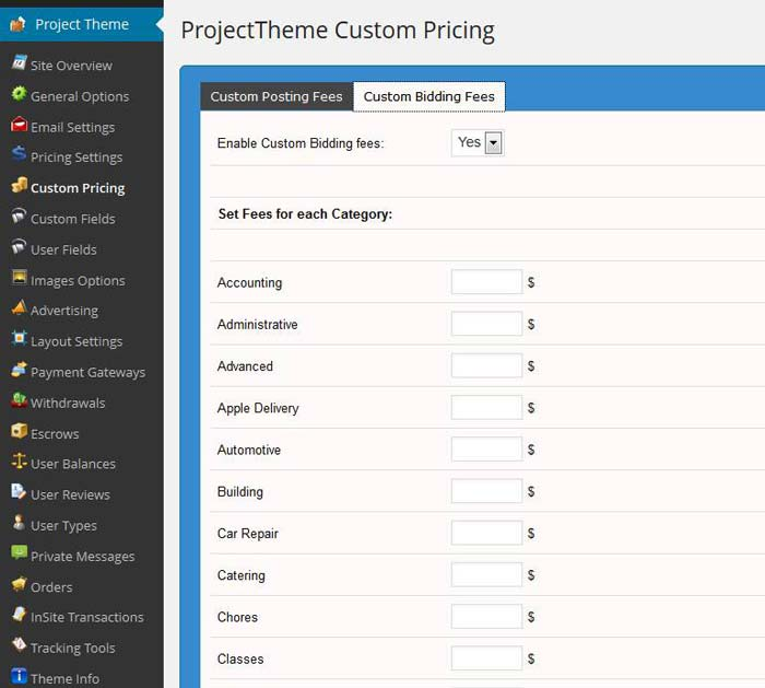 WordPress project theme custom bidding fee