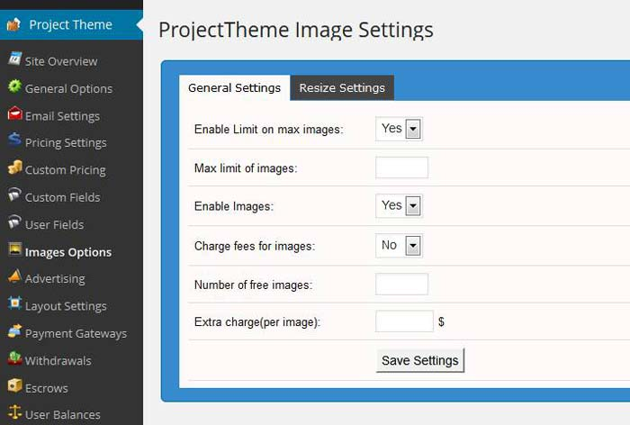 Project theme image options