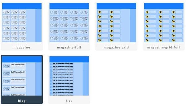 Swift theme blog and magazine layouts