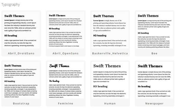Swift theme typography set