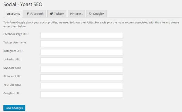 Google Yoast SEO social accounts