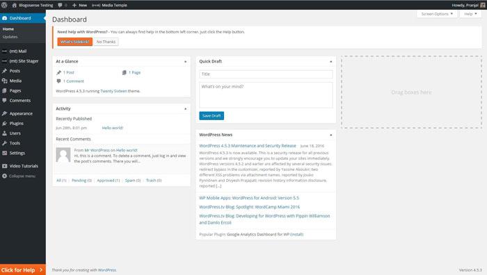 MediaTemple WordPerss dashboard