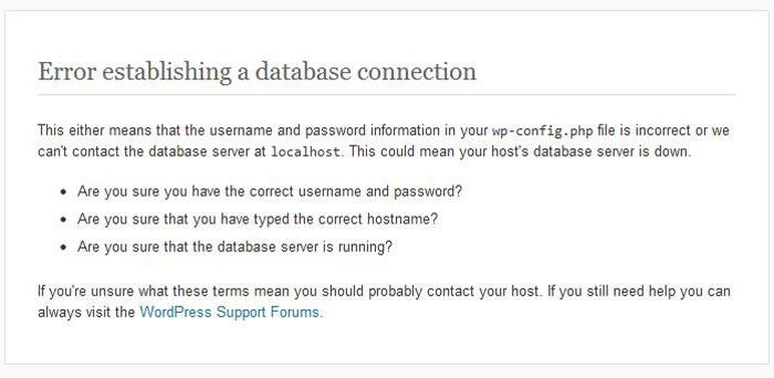 error establishing database connection WordPress