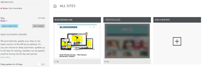 MediaTemple WordPress admin dashboard