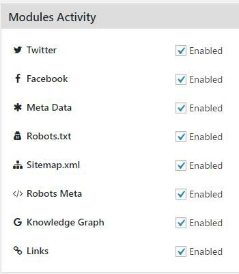 Modules settings