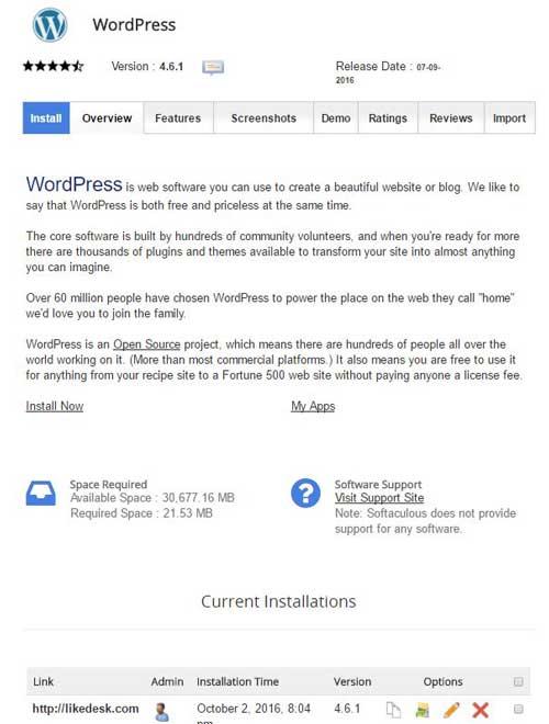 WordPress Softaculous autoinstallers