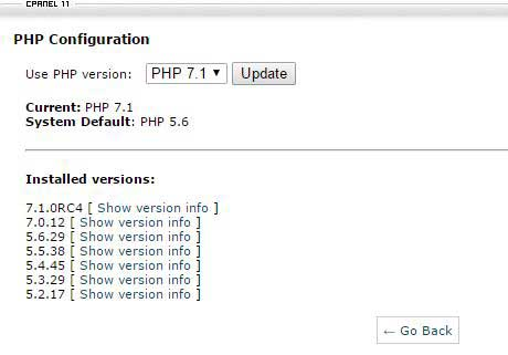 PHP 7.1 WordPress InMotion hosting