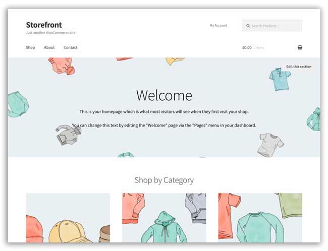 WooCommerce free Storefront theme