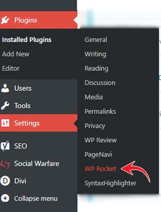 WP Rocket WordPress settings