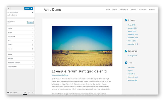 Astra WordPress theme demo customizer