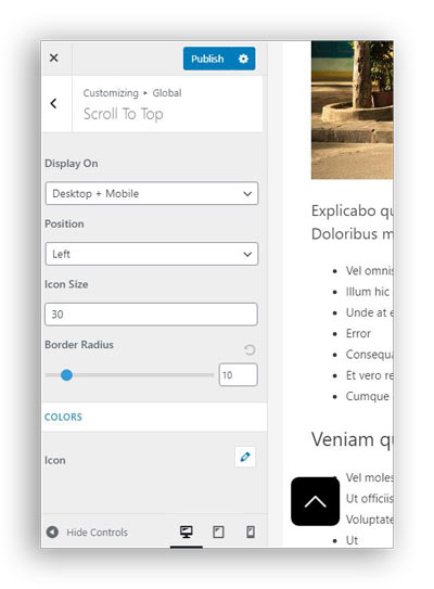 how to enable scroll to top feature astra theme