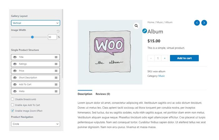 woocommerce single product page zoom effect