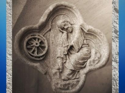 D'après le thème alchimique du Feu de Roue, quadrilobe, cathédrale d'Amiens, art gothique, XIIIe siècle, France. (Marsailly/Blogostelle)