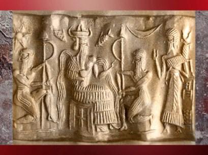 D'aprèsle dieu Ea ou Enki avec des filets d'eau qui lui sortent des épaules, sceau, vers 2300 avjc avjc, période d'Akkad, Mésopotamie. (Marsailly/Blogostelle)