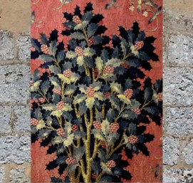 D'après le Houx, détails de la tapisserie médiévale La Dame à la Licorne, À Mon Seul Désir,vers 1500 apjc, France. (Marsailly/Blogostelle)