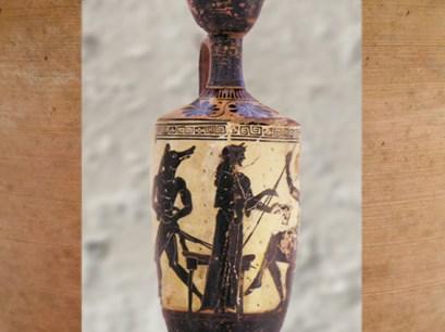 D'après une céramique, Circé offre une coupe à Ulysse, vers 490-480 avjc, Érétrie, Art Grec. (Marsailly/Blogostelle.)