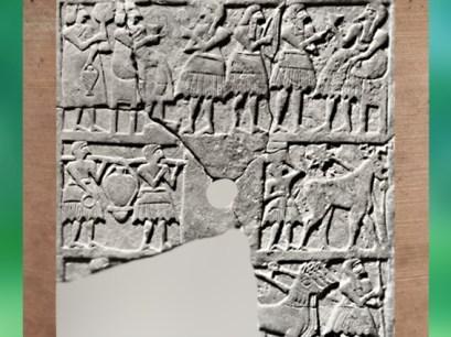 D'après le relief perforé dit du Nouvel An, banquet, porteurs et char, vers 2700 avjc, Temple Ovale, Khafadjé, Irak actuel, Mésopotamie. (Marsailly/Blogostelle)