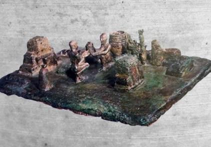 D'après un objet votif en bronze, scène de culte miniature, dite cérémonie du Lever du Soleil (Sit-shamshi), XIIe siècle avjc, Suse, actuel Iran. (Marsailly/Blogostelle)