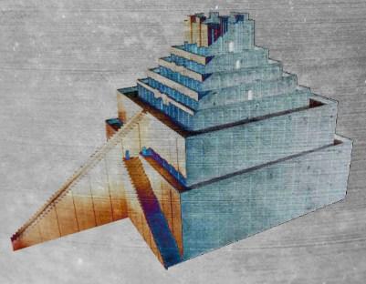 D'après une proposition de reconstitution de la ziggurat de Babylone. (Marsailly/Blogostelle)