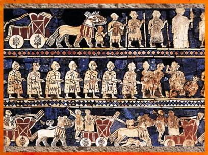 'après l'Étendard d'Ur, les fantassins, détail de La Guerre, mosaïque de coquille, vers vers 2600-2500 avjc, période des dynasties archaïques, Ur, Irak actuel, Mésopotamie. (Marsailly/Blogostelle)