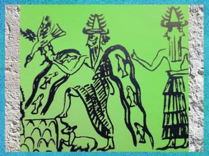 D'après Ea et ses Flots poissonneux, détail, sceau du scribe Adda, vers 2300 avjc, période d'Agadé, Mésopotamie. (Marsailly/Blogostelle)