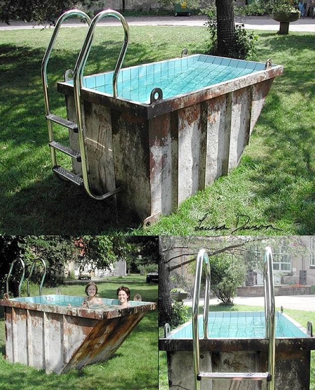 Afvalcontainer ombouwen tot een zwembad? Doet ze gewoon!