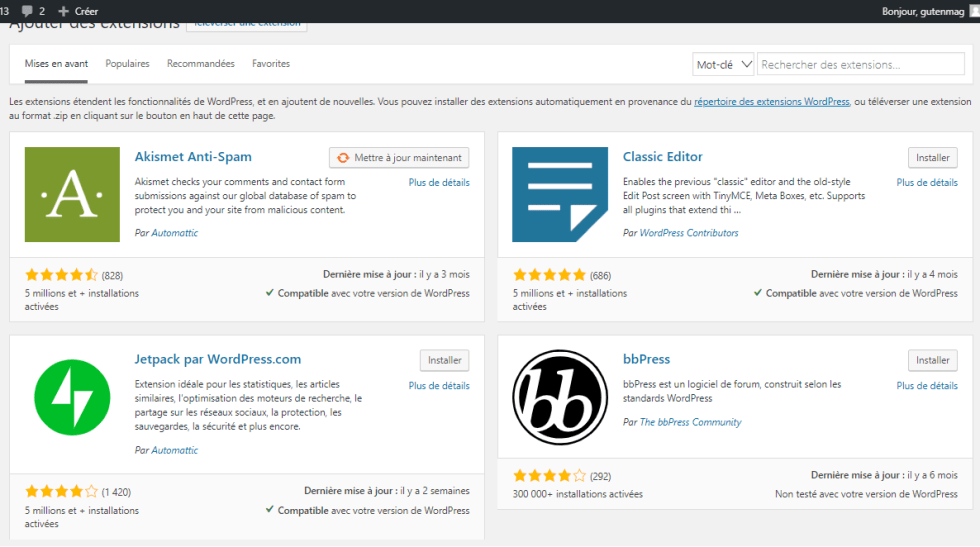 Comment installer plugin wordpress 2