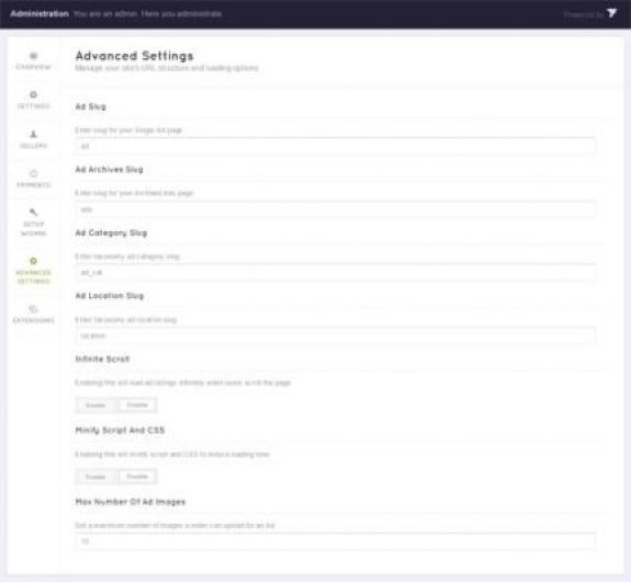 ClasiifiedEngine-Advanced-Settings-page