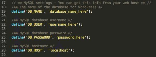 Mettez à jour votre fichier wp-config.php avec les détails de votre base de données.