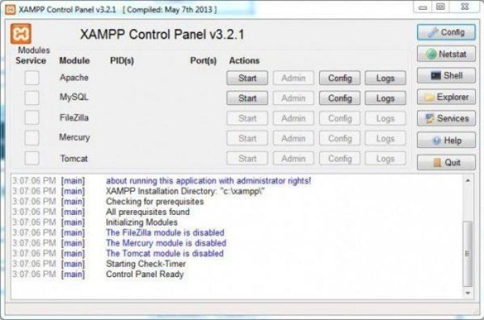 Le panneau de contrôle XAMPP.