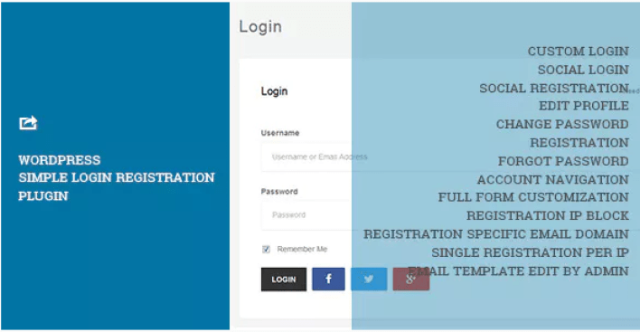 WordPress Simple Login Registration plugin