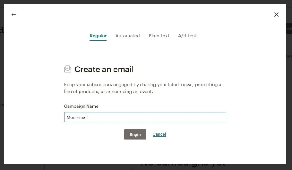 Créer un email mailchimp