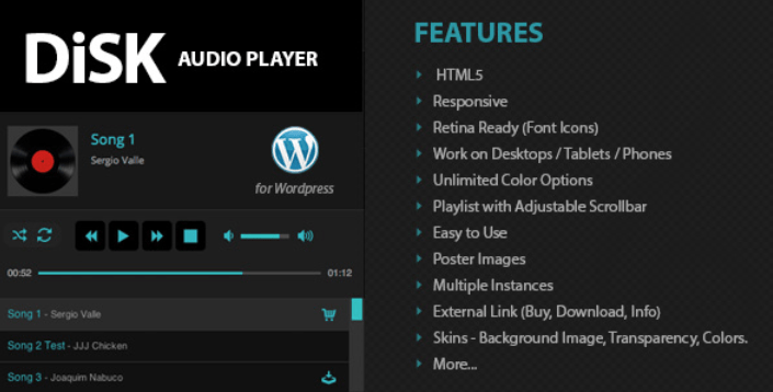 Disk Audio Player plugins wordpress premium ajouter lecteur audio