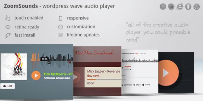 I plugin premium per wordpress di ZoomSound aggiungono un lettore audio