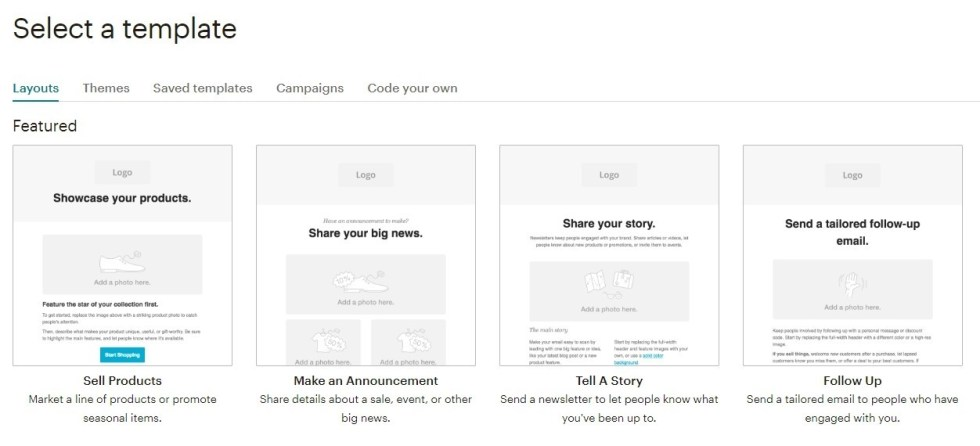 Choisir un template email mailchimp